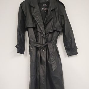 Vintage Wilsons leather trench coat mens xs black